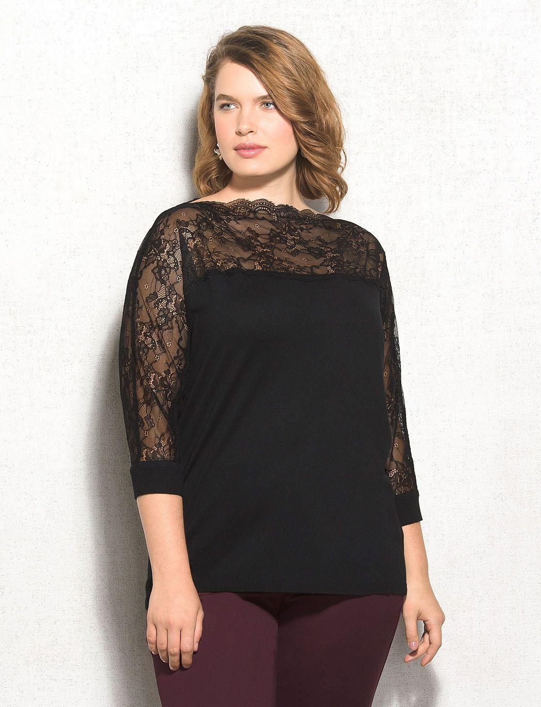7028b7865fed2 Roz   ALI Plus Size Lace Top Sweater