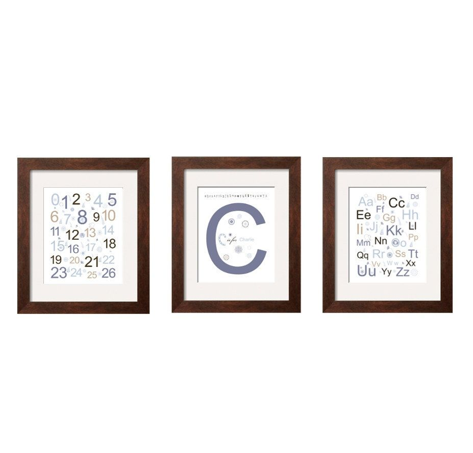 Letter initial alphabet and numbers in denim blue brown and tan