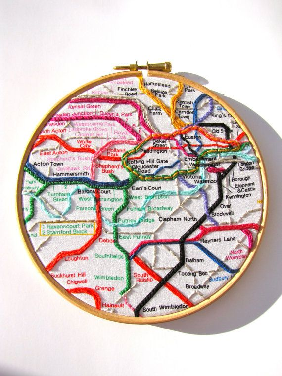 Hand Embroidered Picture Embroidery Hoop Art London Tube Memento