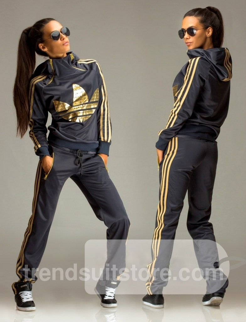 3aece574c Article OT00020 #zip #hood #tracksuit Order of this product only by  wholesale catalog at our website. Stylish womens gold print hooded zip grey  tracksuit.