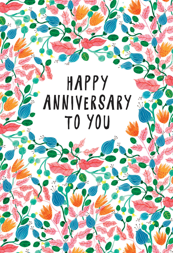Pink Leaves - Happy Anniversary card you can print or send as eCard ...