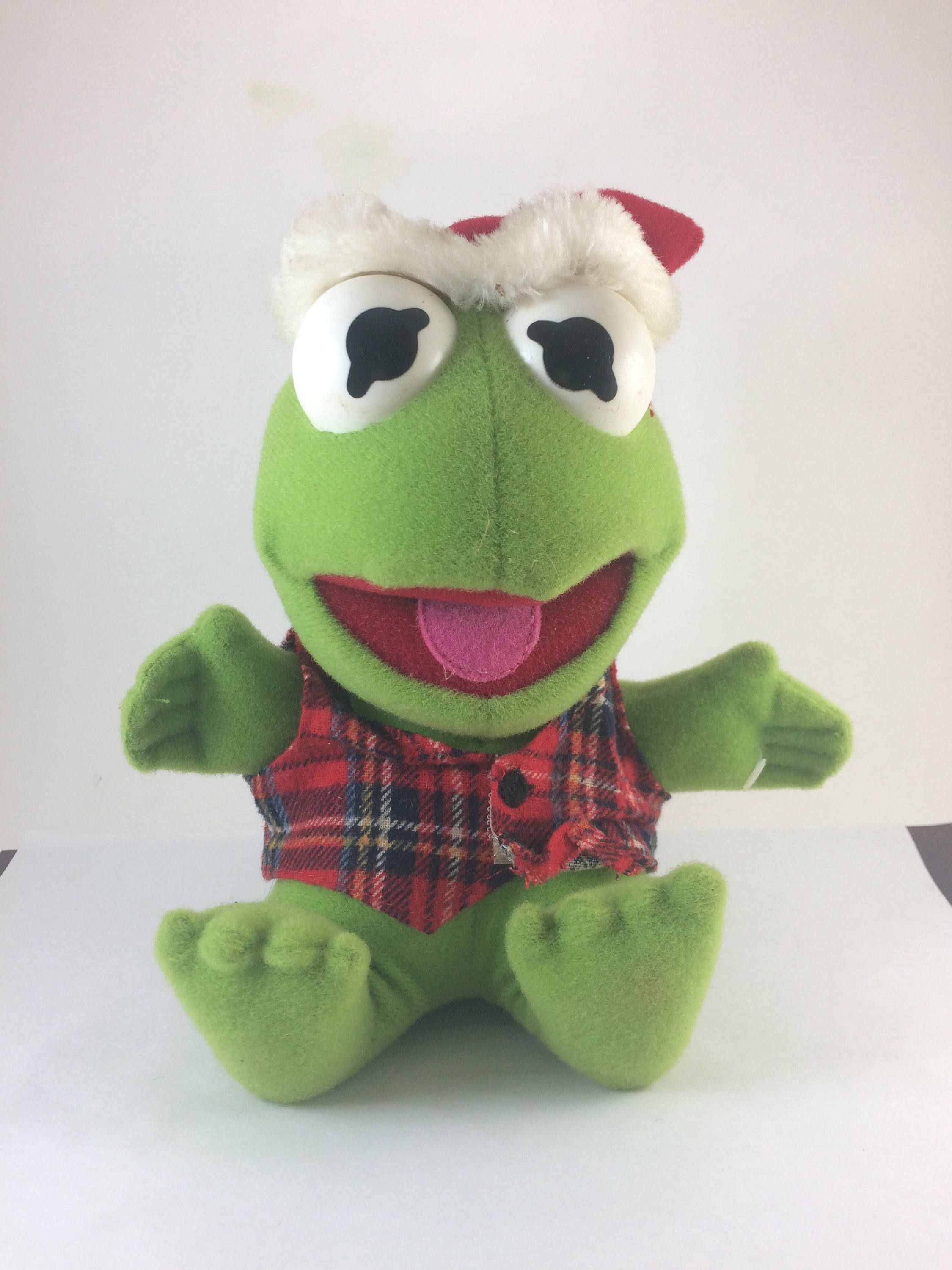 Muppet Babies Kermit the frog in christmas outfit Santa Hat ...