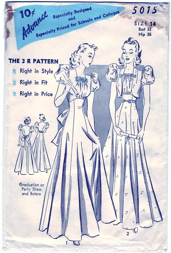 Vintage 1938 Advance 5015 Sewing Pattern Junior's, Misses' Graduation or Party Dress and Bolero Size 14 Bust 32