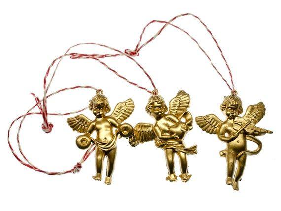 Photo of 3 Stück Christbaumschmuck Ornamente Ornament Xmas Cherubs Angel Golden Angels