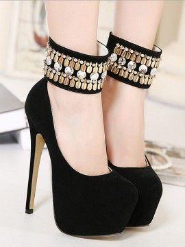 Shop Black Suedette Crystal Disc Drop Platform High Heels from choies.com .Free shipping Worldwide.$53.99