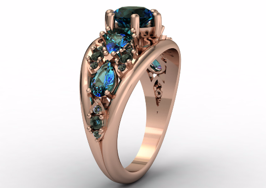 QUEEN - 14k Rose Gold Antique Engagement or Wedding Ring with Alexandrite stones (Item # LAWR-00235)