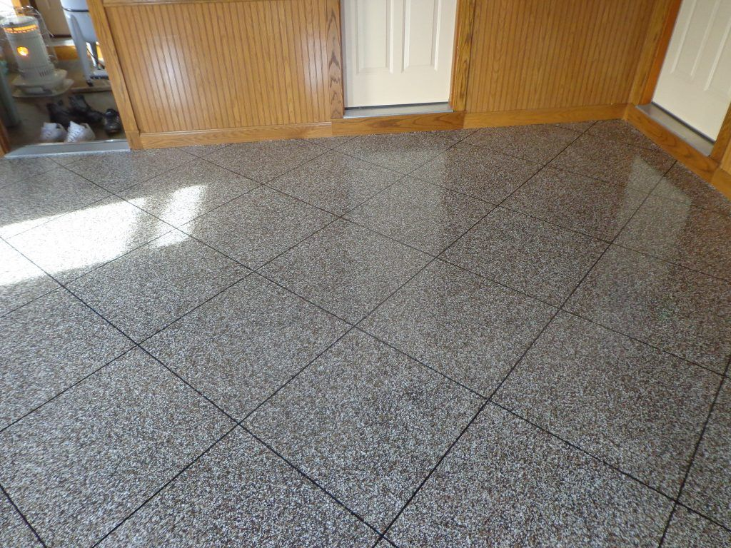 An Epoxy Flake Floor That Looks Like Tile Yes Please Flooring Concrete Decor Interior Floor