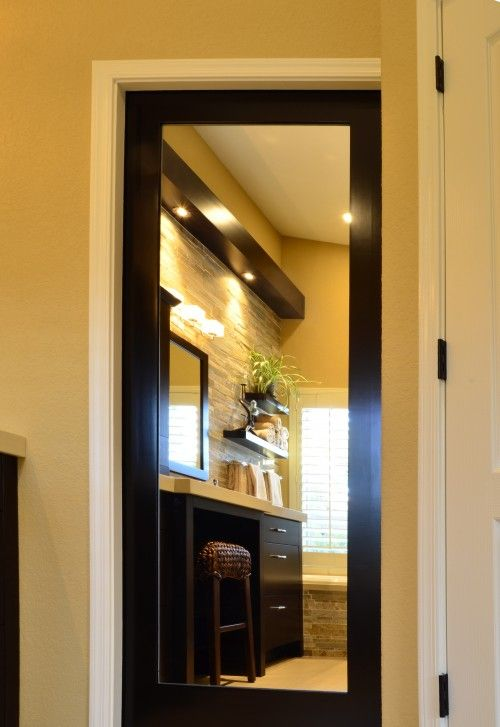 Mirrored pocket door would be fab inside an walk in closet for Master bathroom pocket door