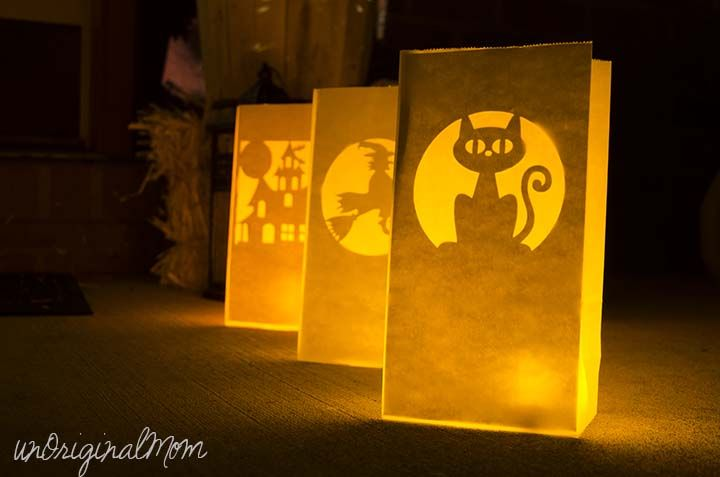 Make Glowing Paper Bag Luminaries With Your Silhouette In Less Than 10 Minutes Great Front Porch Decor For Trick Or Treat Night