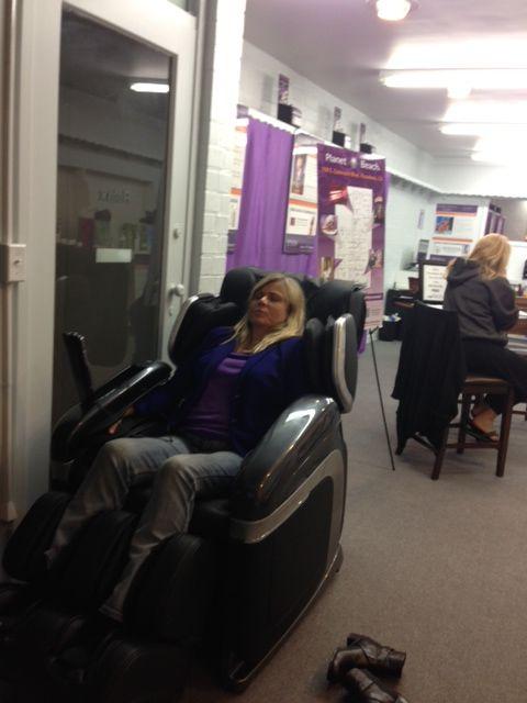 Enjoying Cyber Relax Massage Chair Spa Party Planet Beach Pasadena