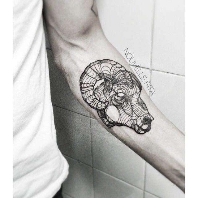 Nouvellerita Ram Aries Tattoo Linework Black And Grey Tattoos
