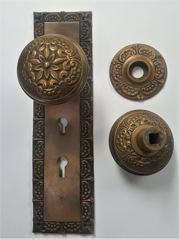 Fleur De Lys Antique Brass Entry Door Back Plate And Doorknobs by ...