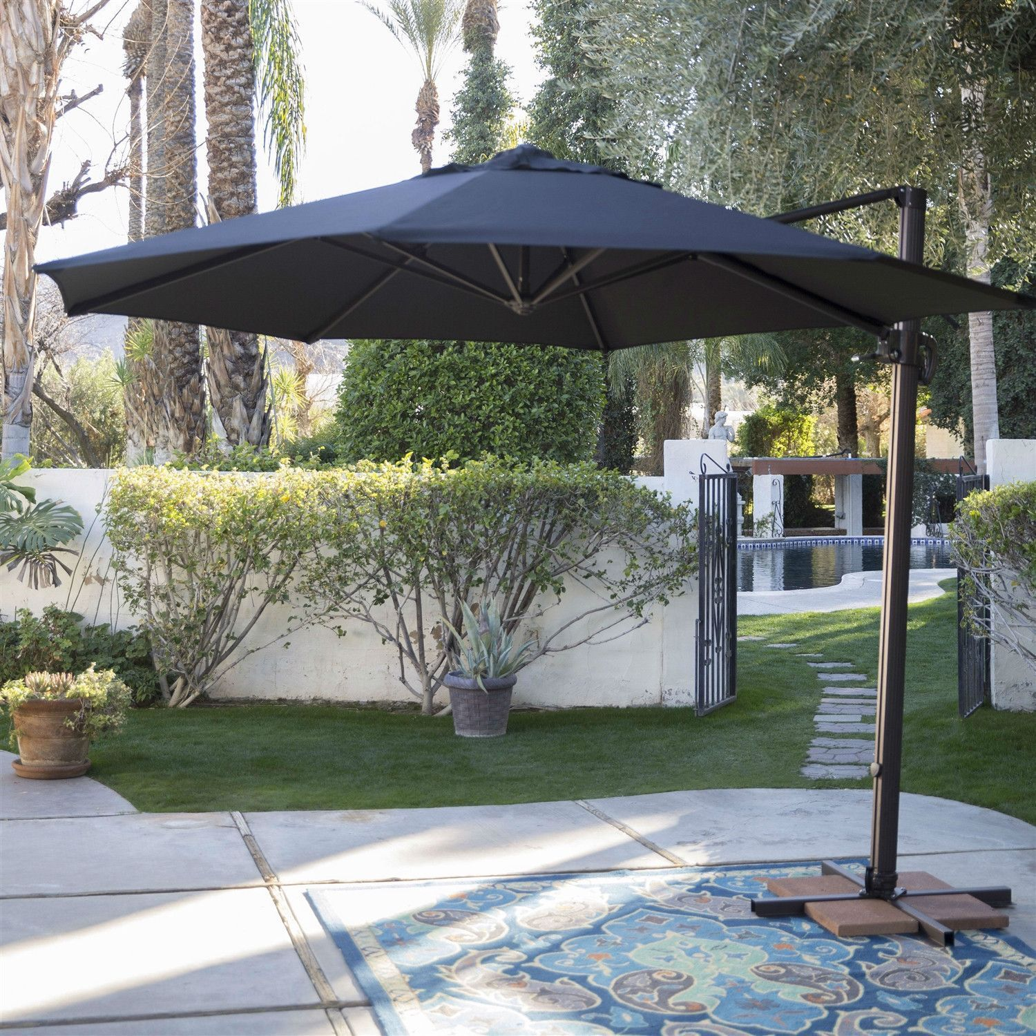 Black 11 Ft Offset Patio Umbrella With Crank Tilt And Aluminum Pole