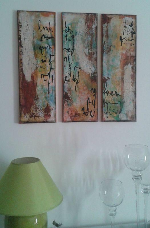 Triptyque acrylique Peinture-abstrait Pinterest