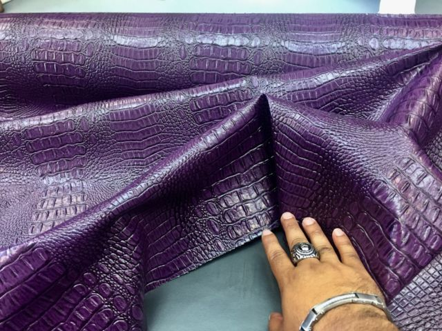 Purple Crocodile Faux Leather Vinyl Embossed Scales Pvc Sold By The Yard Leather Vinyl Embossed Fabric Faux Leather