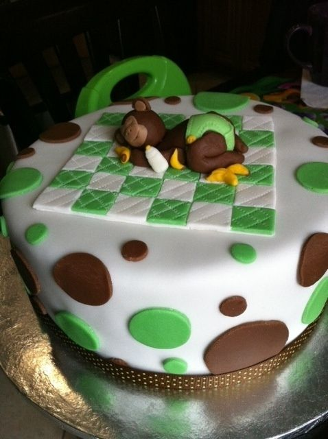 Green brown monkey baby shower cake mom wanted a banana monkey theme to go with her green and - Baby shower cakes monkey theme ...