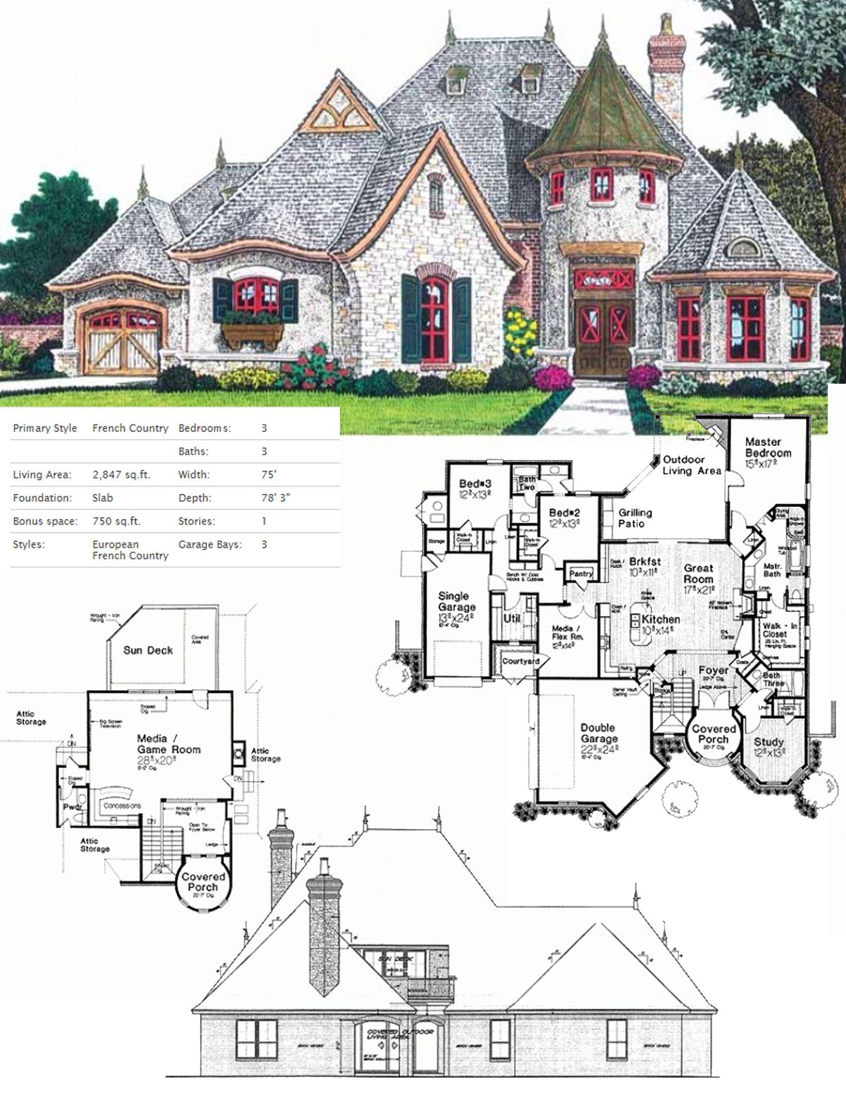 European Style House Plan 3 Beds 3 5 Baths 2847 Sq Ft Plan 310 707 In 2020 Country Cottage House Plans House Plans Cottage House Plans
