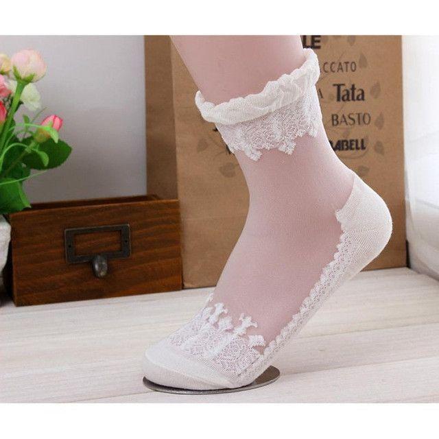 Fishnet Elastic Women Transparent Glass Socks Dance Socks Lace Crystal Socks