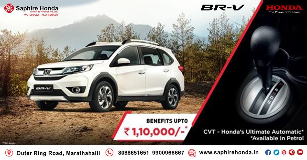 Get ready to rule the roads with Honda BR-V: The Be Ready Vehicle! With features like 3 row seating and mileage of 21.9 km/l. The BR-V is crafted for convenience and flair. Avail exciting offers up to Rs. 1,10,000*.*T&C Apply. Visit: www.saphirehonda.in or Call: 8088651651#saphirehonda #HondaOffer #HondaCars