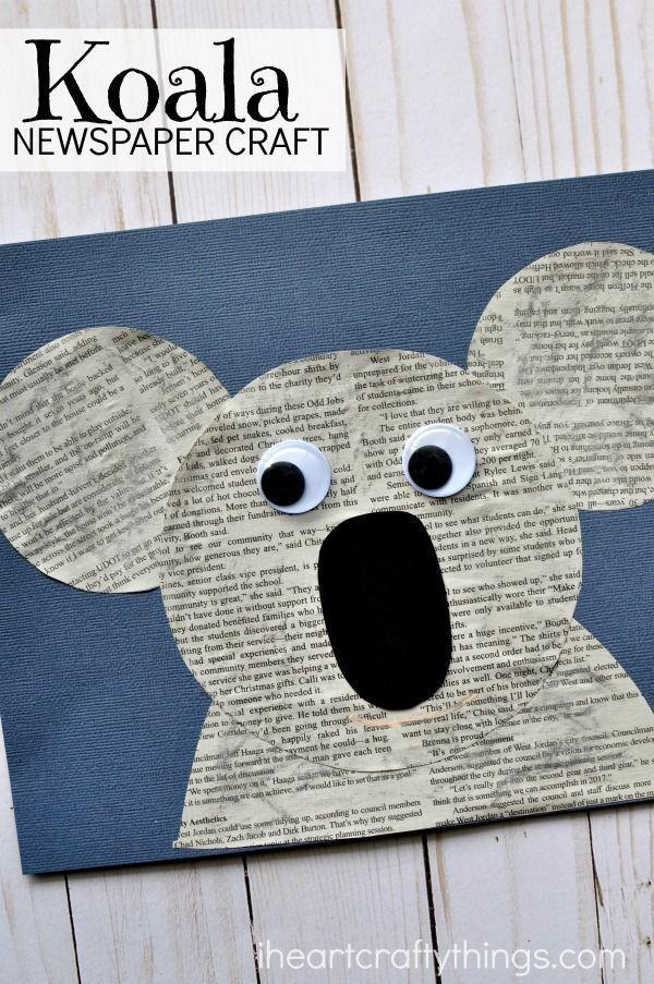 Cute Newspaper Koala Craft Kindergarten Classroom Crafts For