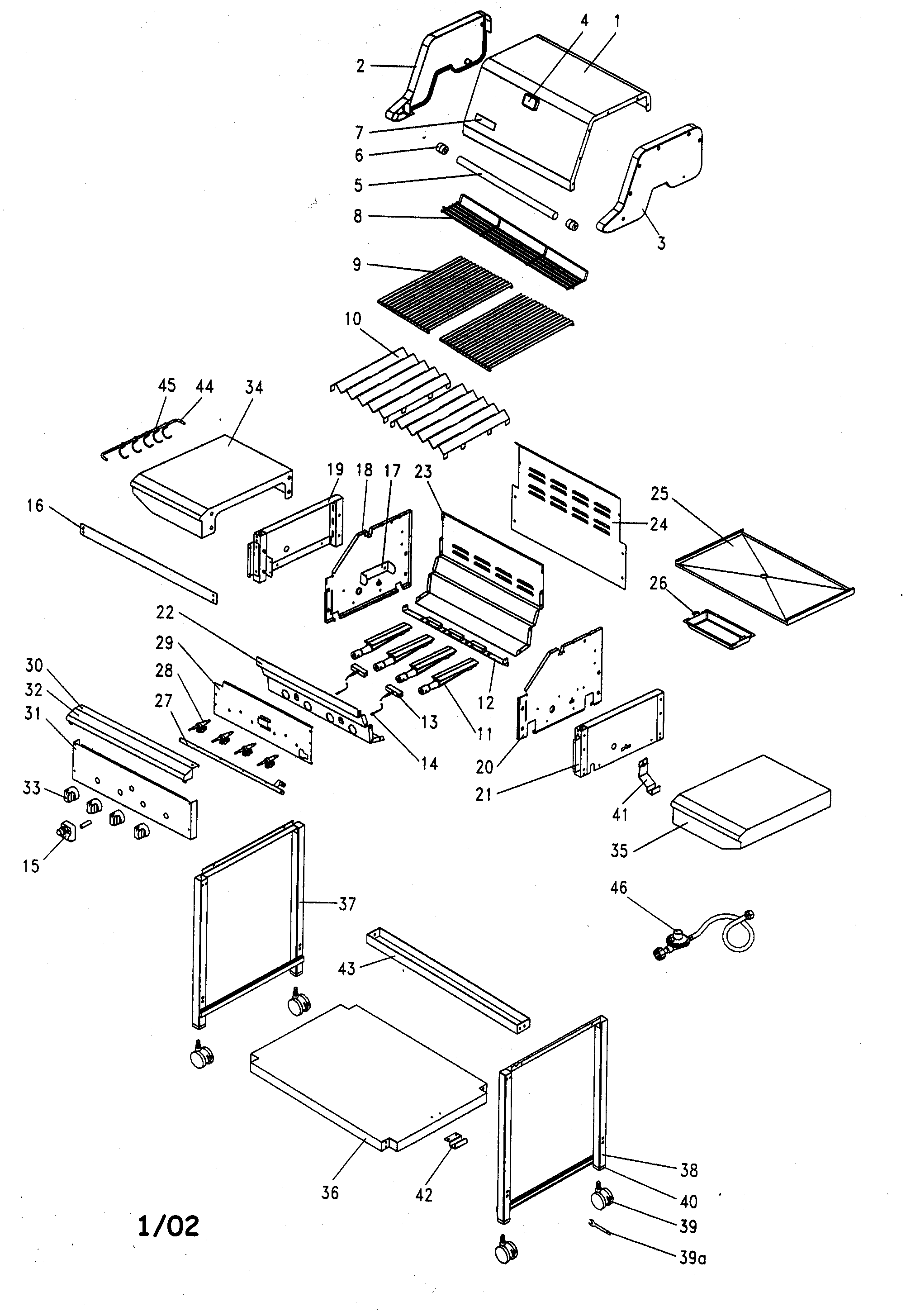 GRILL Diagram & Parts List for Model 141155401 Kenmore