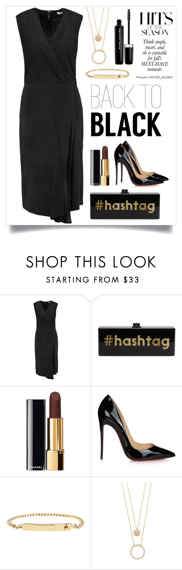 """""""Back to Black"""" by frechelibelle ❤ liked on Polyvore featuring Vince, Edie Parker, Chanel, Christian Louboutin, A.P.C., Kate Spade, Marc Jacobs, black, suede and christianlouboutin"""