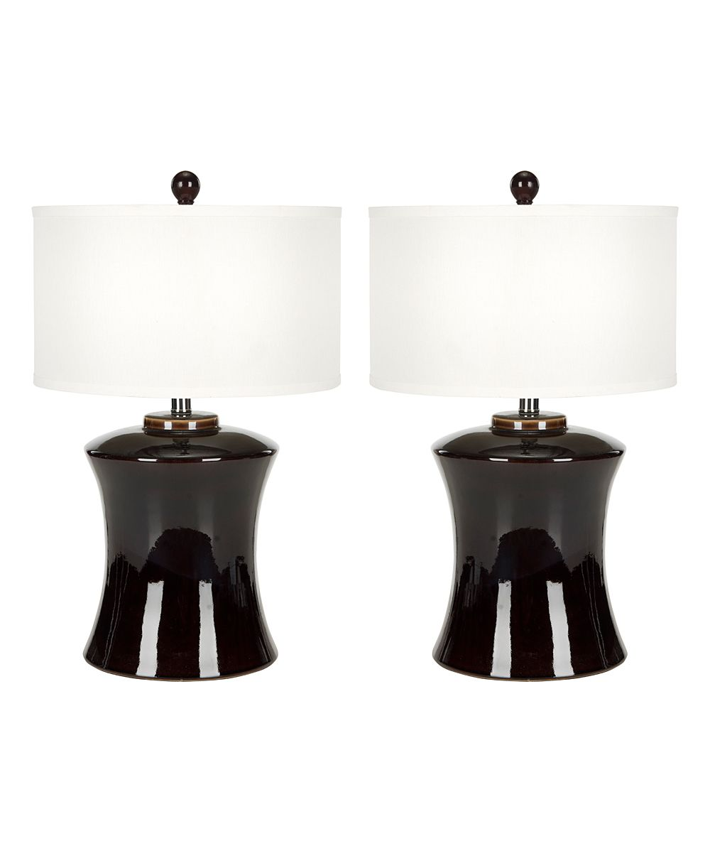 Set Of Two Table Lamps Dark Brown Ceramic Table Lamp Set Of Two Ceramics Lamps And Brown