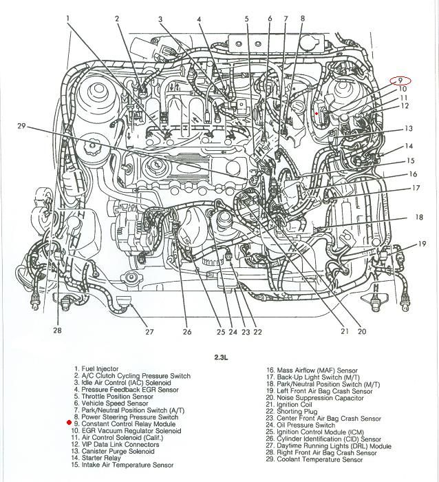 1993 Ford Tempo 2.3 engine where is the fuel relay switch