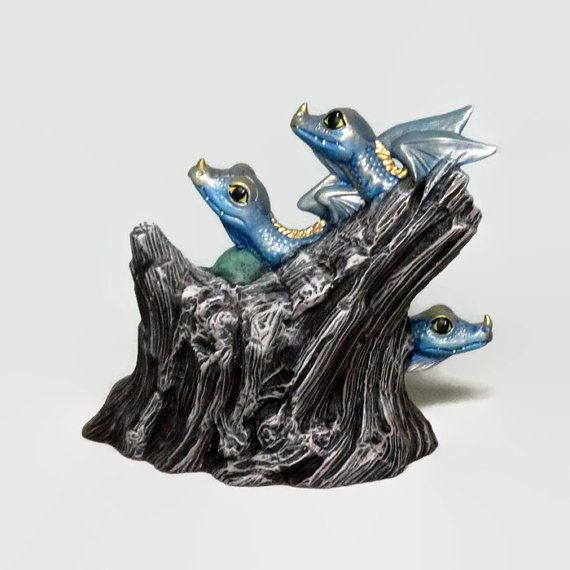Ceramic Dragon Hatchling Figurine Blue Gold by DarwinsCaverns