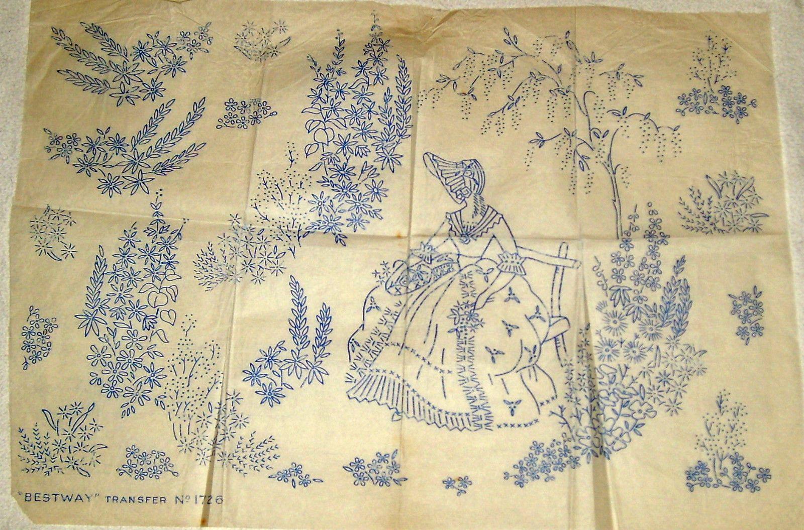 Vintage Bestway embroidery transfer - Crinoline Lady sitting on ...