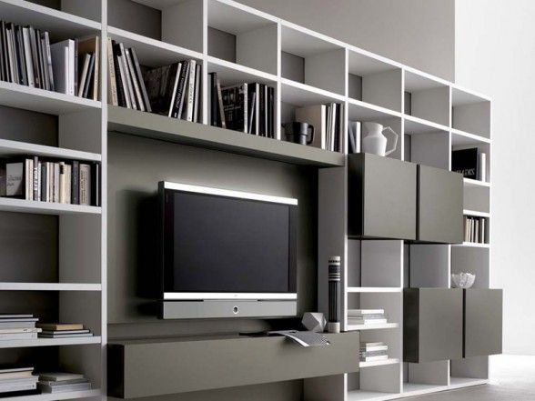 Modern Wall Unit Designs: Awesome LCD TV Wall Unit Design Ideas With Modern Bookcase