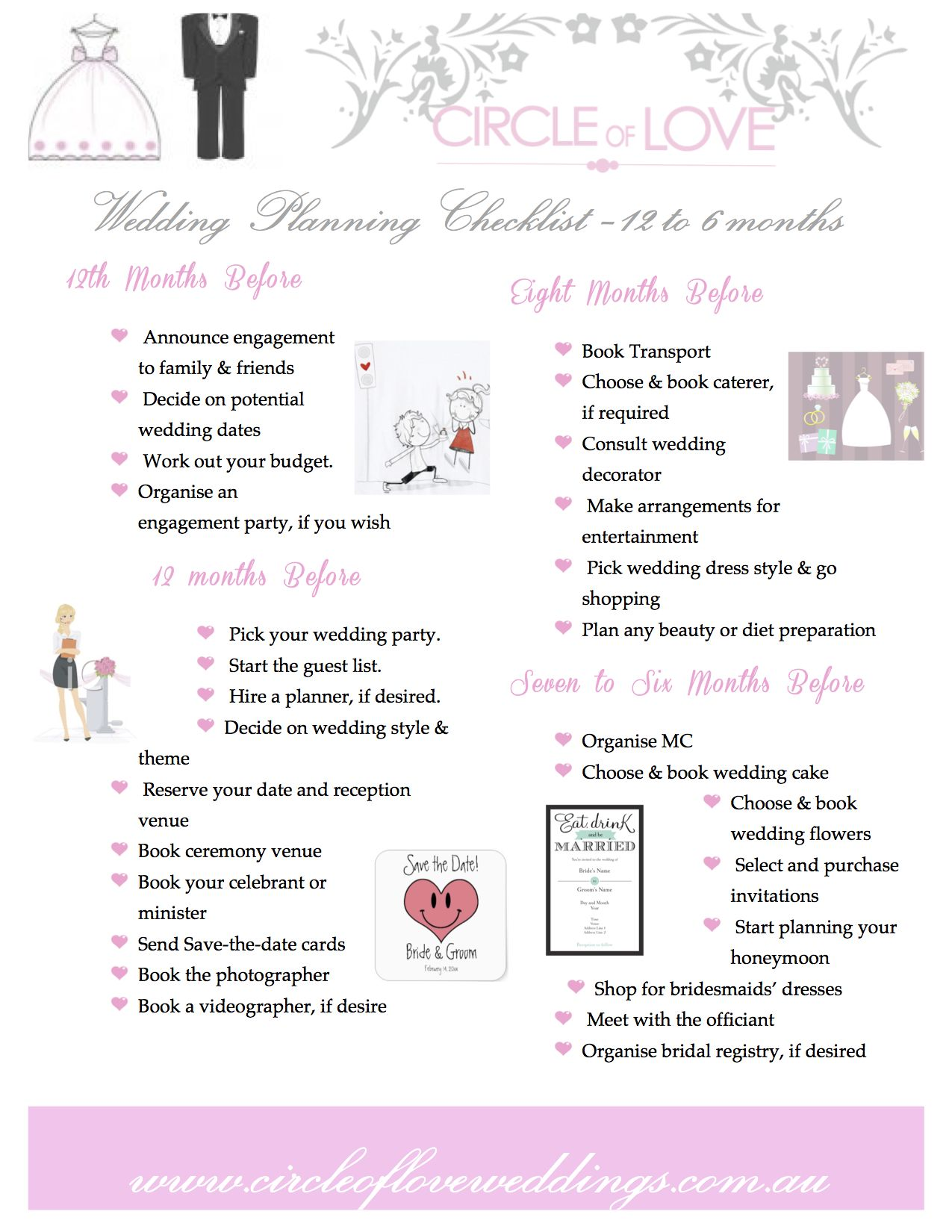 1) Circle of Love Wedding Planning checklist 12 to 6 months before Download o…   Wedding ...