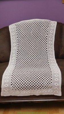 Szydelko Azurowy Obrus Prosty Wzor 115x63 Cm Throw Pillows Pillows Bed