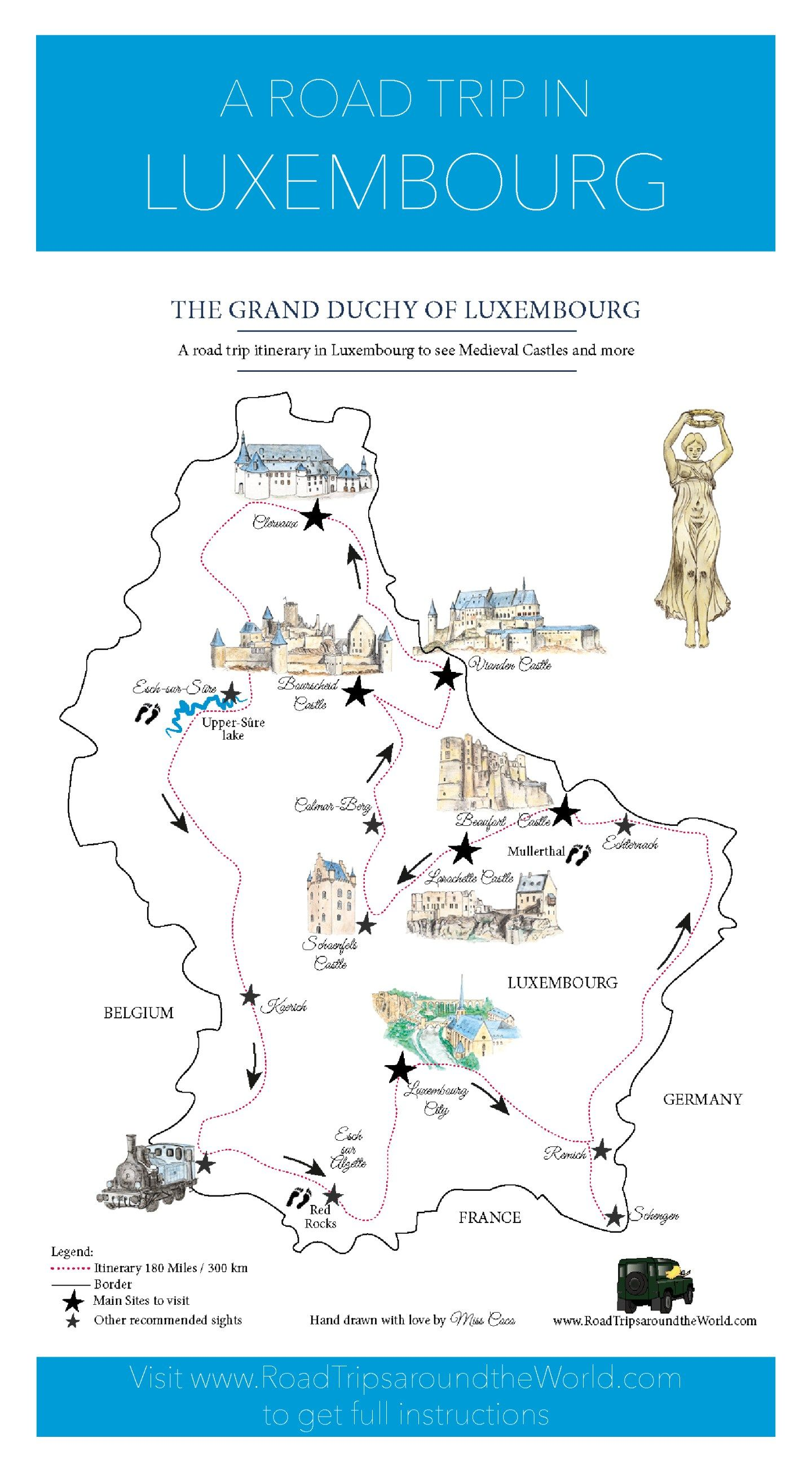 A Road Trip in Luxembourg Free printable map for a great itinerary