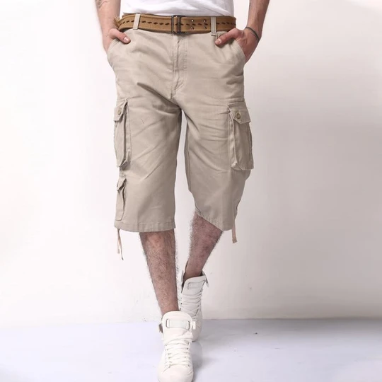 Mens Pants Relaxed Fit Men Summer Fashion Cotton Casual Gargo Pants Washed Calf-Length Pants