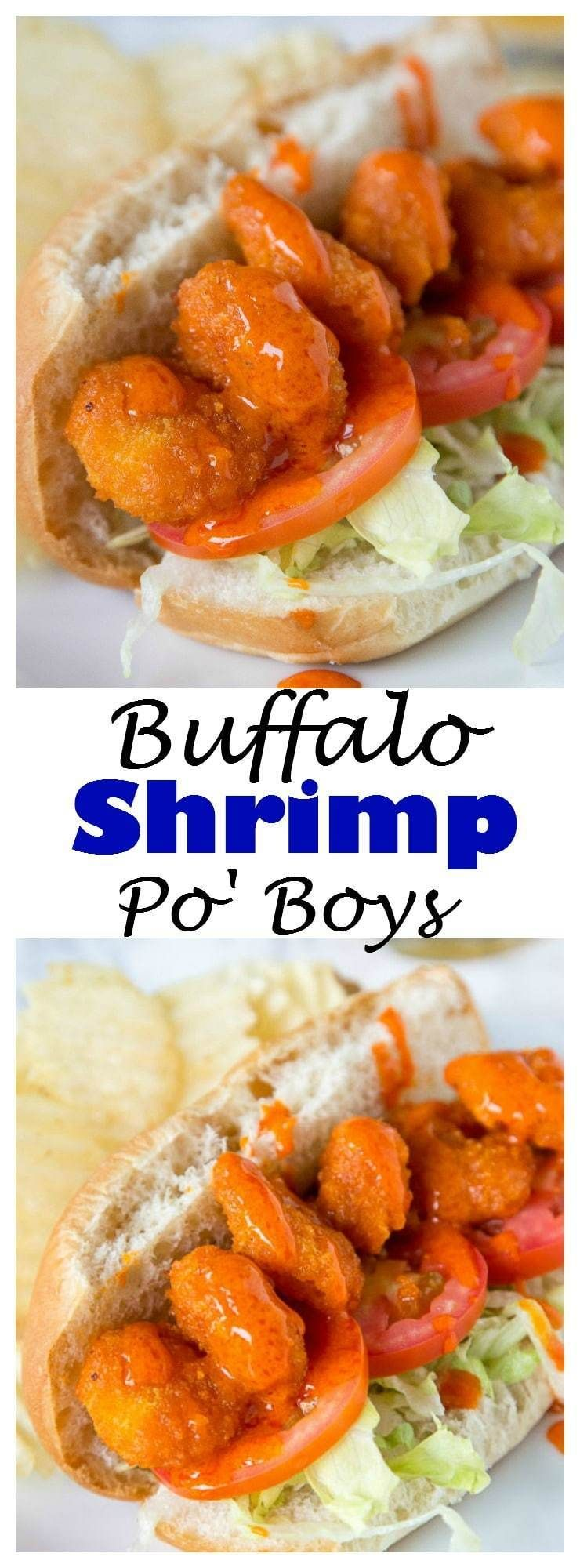 Buffalo Shrimp Po Boys - A fun twist on the classic Po' Boy using crispy fried buffalo shrimp (short cut from the store)! Add some ranch dressing or blue cheese to cool it down, or drizzle on even more buffalo sauce! #buffaloshrimp
