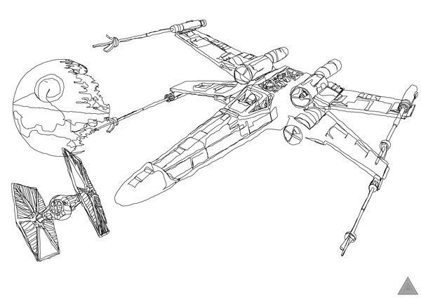 Star Wars Continuous Line Drawings Star Wars Drawings Drawing