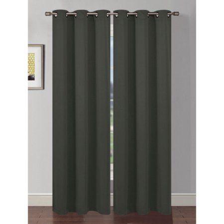 Ana Woven Room Darkening Grommet Curtain Panels, Black