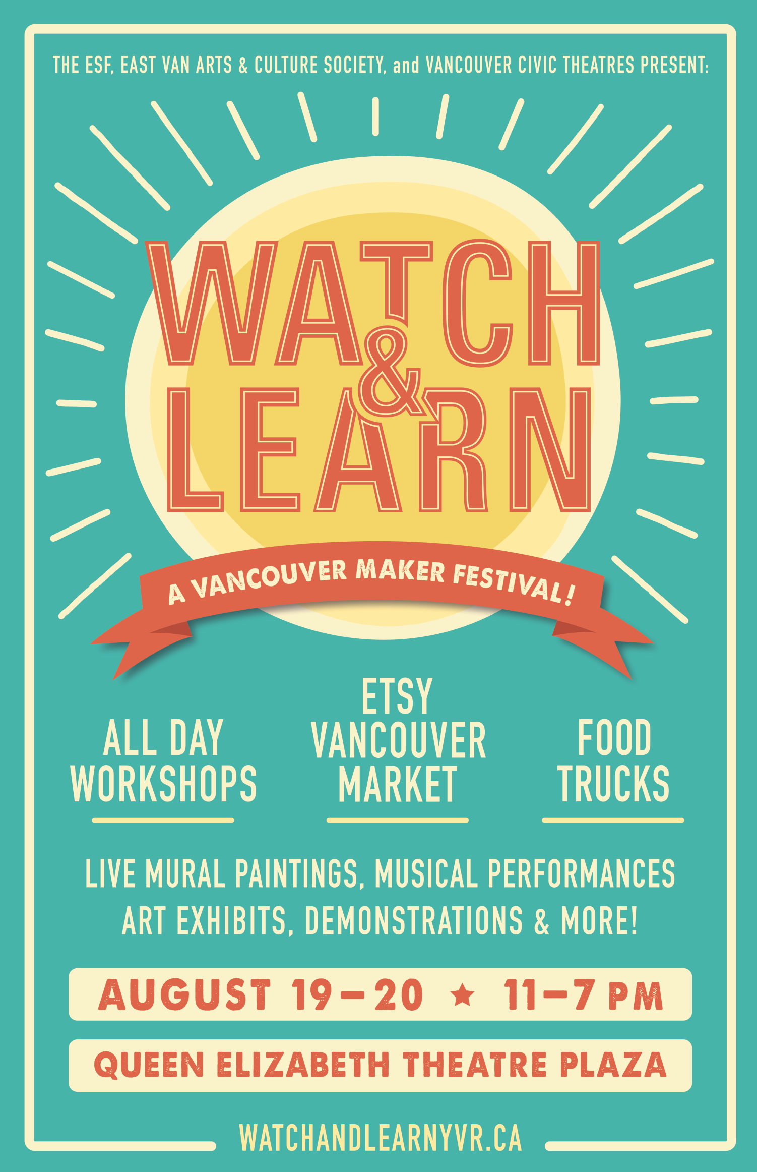 Poster Design for the Eastside Flea/Etsy Market Summer event promoting creative workshops! B