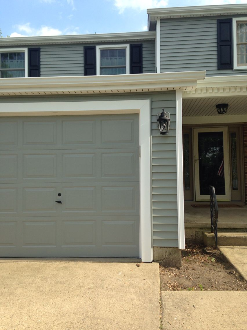 Garage Door Painted Valspar Gray Expose 5007 2a At Lowes Closest Paint Color To Match Exterior Paint Colors For House Grey Exterior House Colors Garage Doors