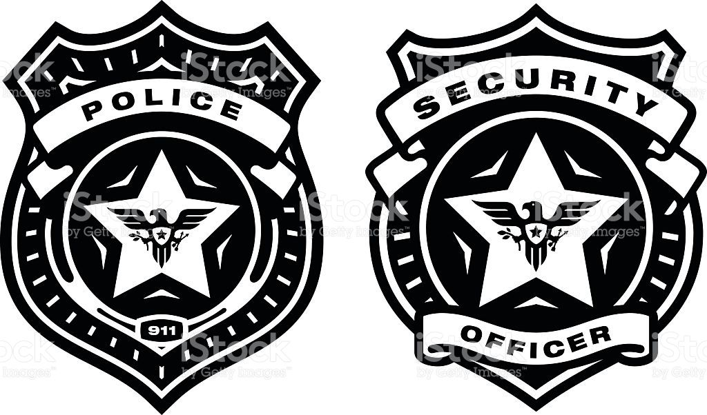 Police officer badge and security officer badge