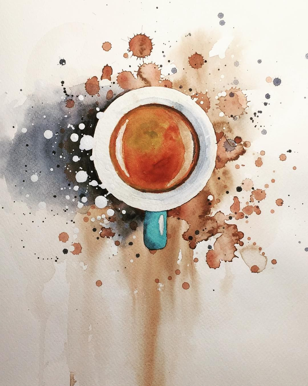 watercolor espresso coffee watercolour painting by jiri