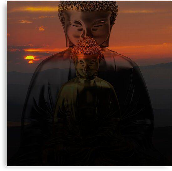 Lienzo budista con dos figuras meditando y una puesta de sol