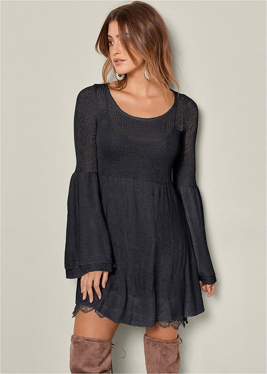 351e7db134a Venus Women s Boho Sweater Dress - Black