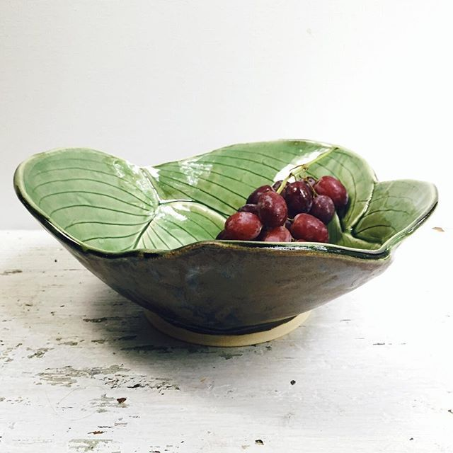 Hosta bowls! Hosta platters! Outrageously large and illicitly gorgeous Hosta bowls for tonight's restock. 7 pm EST. Link in profile. by leewolfepottery