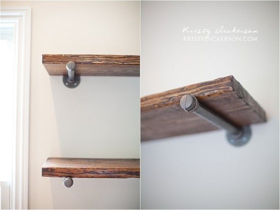 DIY Pipe Shelving   Site Links To Tutorial. Most Of It Focused On  Distressing Wood