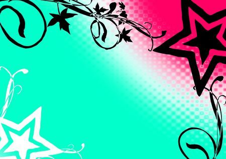 Star - blue, vine, stars, pink