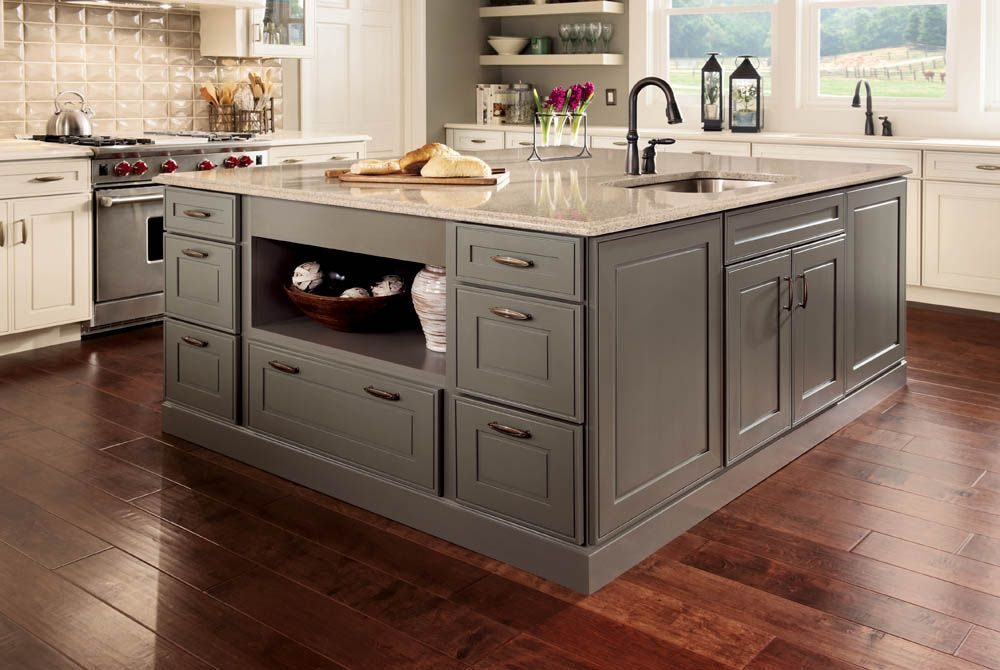 Perfect Color Transition From Floor To Island Cabinets Kraft Maid Grey Kitchen