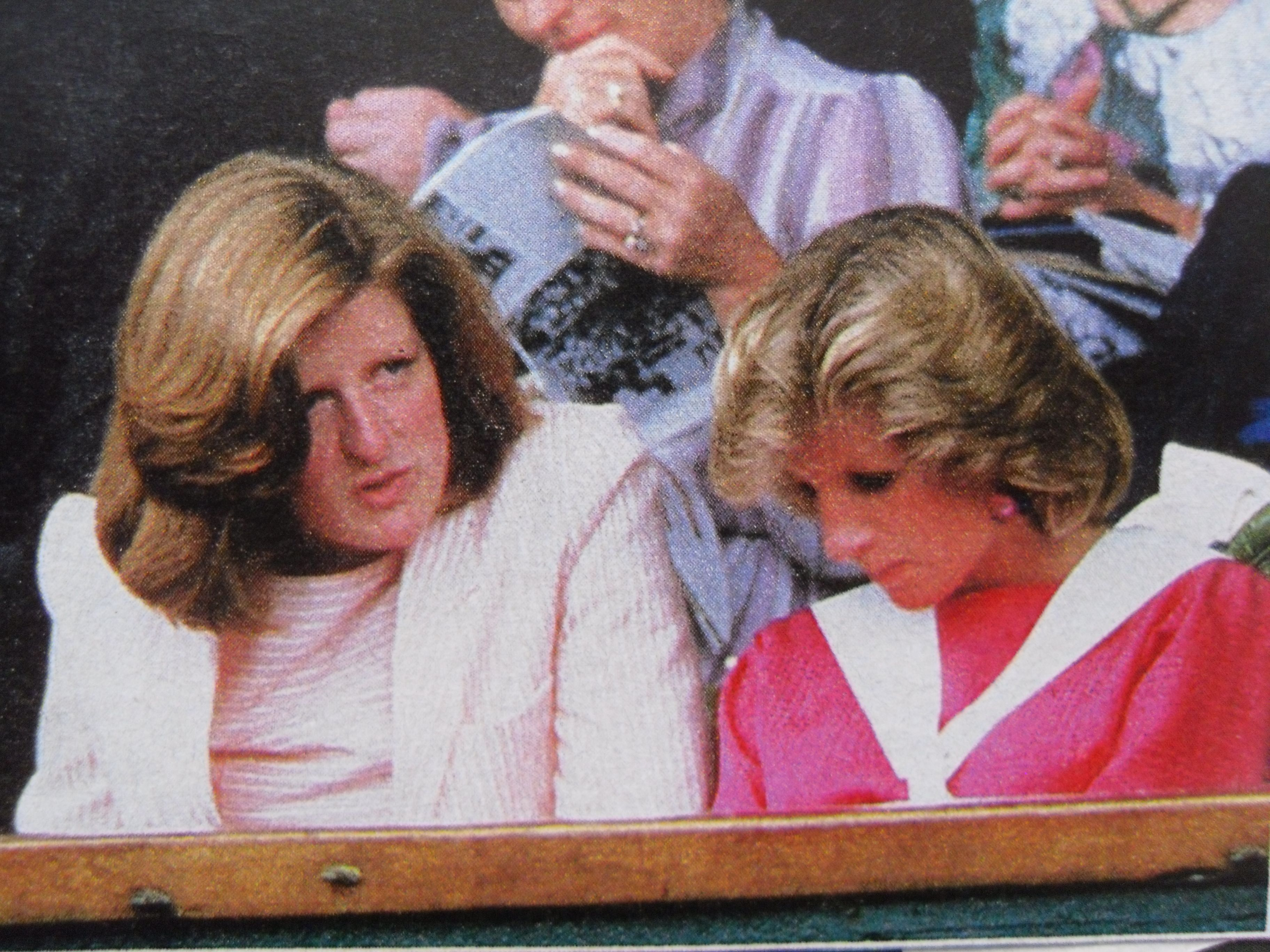 July 4, 1984: Princess Diana at Wimbledon with her sister, Lady Jane Fellowes, to watch the Ladies' Singles Quarterfinals between Chris Evert Lloyd and Carina Karlsson.
