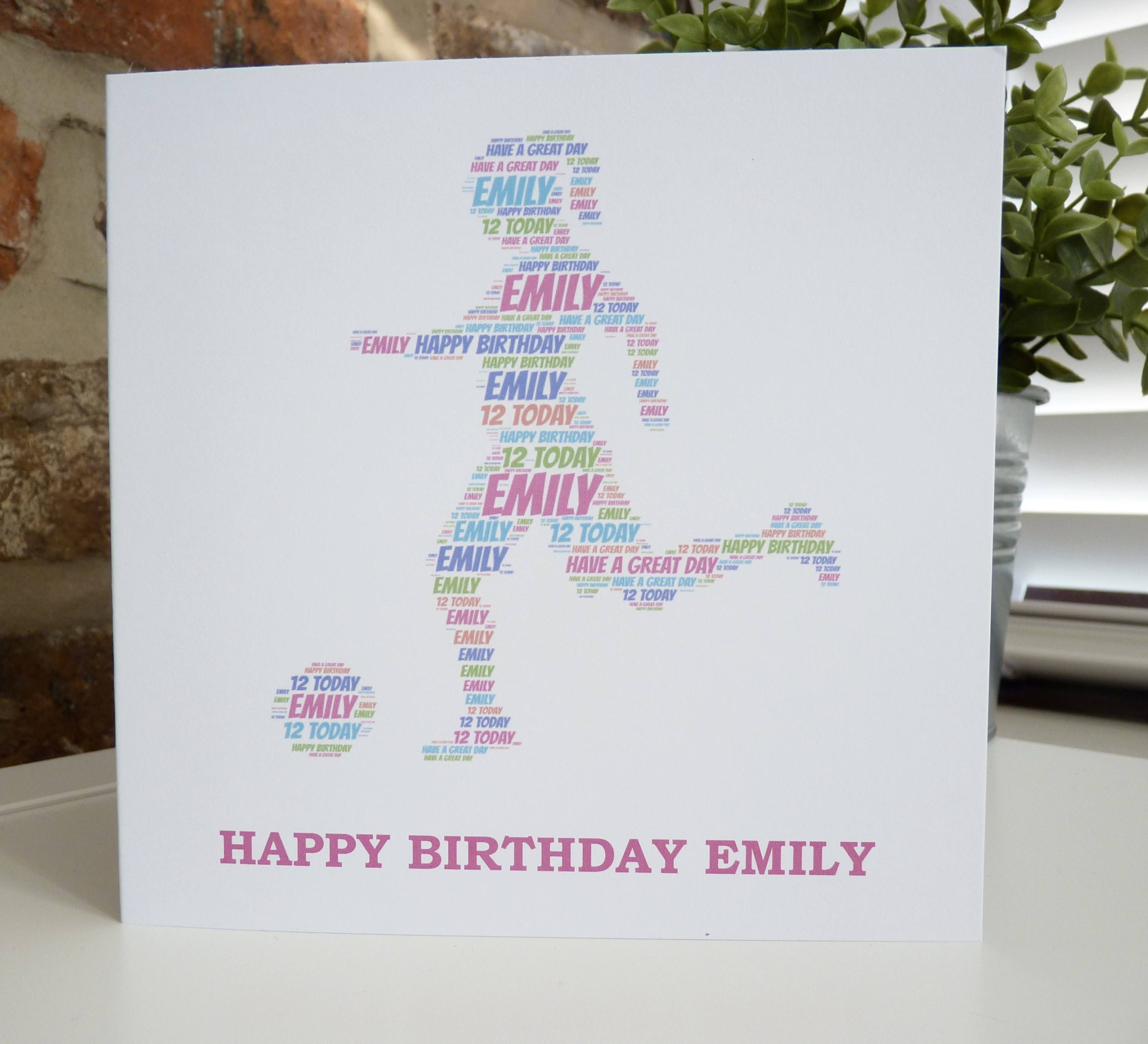 Personalised Girl Footballer Card Personalised Girl Soccer Etsy Personalized Birthday Cards Personal Cards Unique Cards